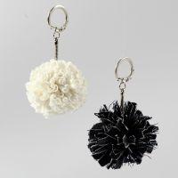 Des pendentifs en forme de pompons faits en fil spaghetti (textile) ou en fil textile Denim