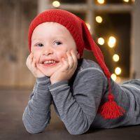Un bonnet de lutin tricoté