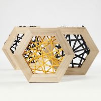 String Art avec du fil de coton tubulaire dans des cadres en bois hexagonaux