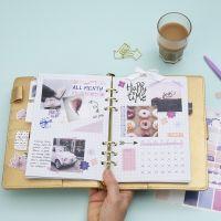 Un aperçu mensuel dans un Bullet journal et un agenda