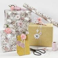 Floral Gift Wrapping with punched-out Card Flowers and Tissue Paper Flowers