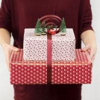 Décoration de cadeau composée d'un noeud en ruban décoratif et de minifigurines