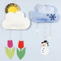 Un mobile nuage avec différentes météos fait en papier kraft et papier cartonné