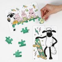 Un puzzle Shaun le Mouton décoré aux feutres