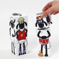 Cubes à empiler Shaun le Mouton décorés avec des feutres