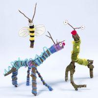 Animaux et insectes fabriqués à partir de brindilles, de bâtons, de laine et de base collante Sticky Base Sticky Base