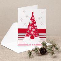 Une carte de Noël avec un lutin fouineur en papier design