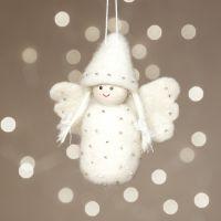 Un ange feutré à l'aiguile sur du polystyrène