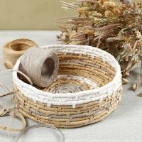 Coiled basket weaving with paper raffia
