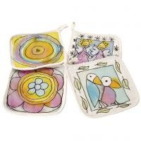 Lovely potholders with silk paint